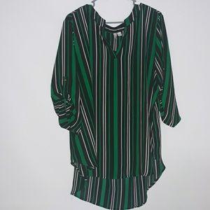 Cato green striped tunic